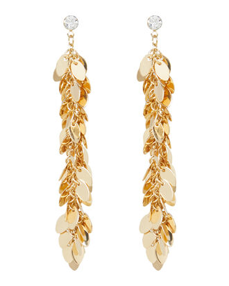 Fringe Leaves Drop Earrings, GOLD, hi-res