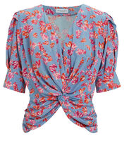 Maurice Floral Blouse, GREY/RED, hi-res