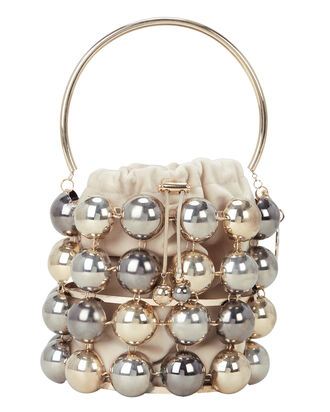 Ozzy Metal Ball Cage Clutch, SILVER/GOLD, hi-res