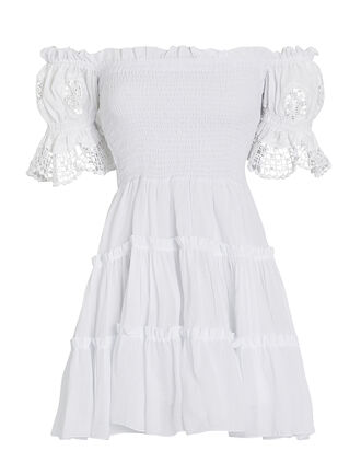 Nancy Off-the-Shoulder Cotton Dress, WHITE, hi-res