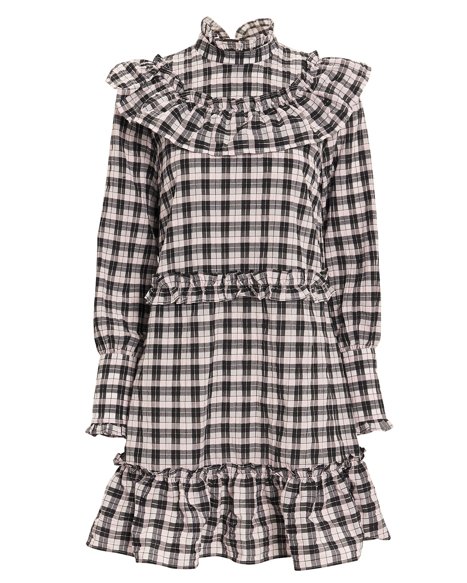 Gingham Ruffle Dress, PINK, hi-res