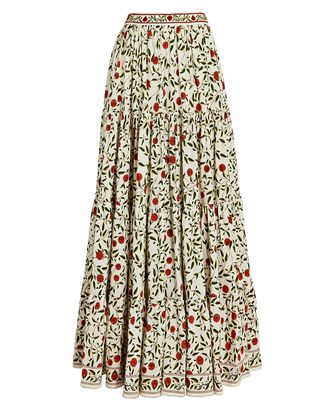 Macadamia Floral Tiered Maxi Skirt, BEIGE/GREEN, hi-res