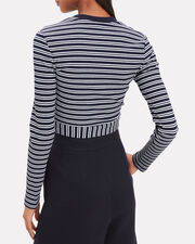 Striped Tie Waist Top, NAVY, hi-res