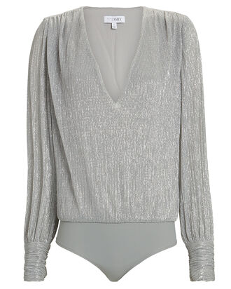 Stacy Lamé Bodysuit, SILVER, hi-res