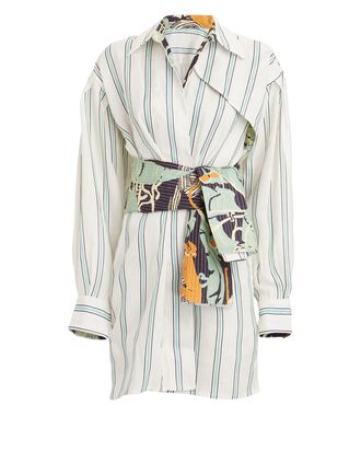 Barnes Striped Tie-Waist Shirt Dress, WHITE/LIGHT BLUE, hi-res