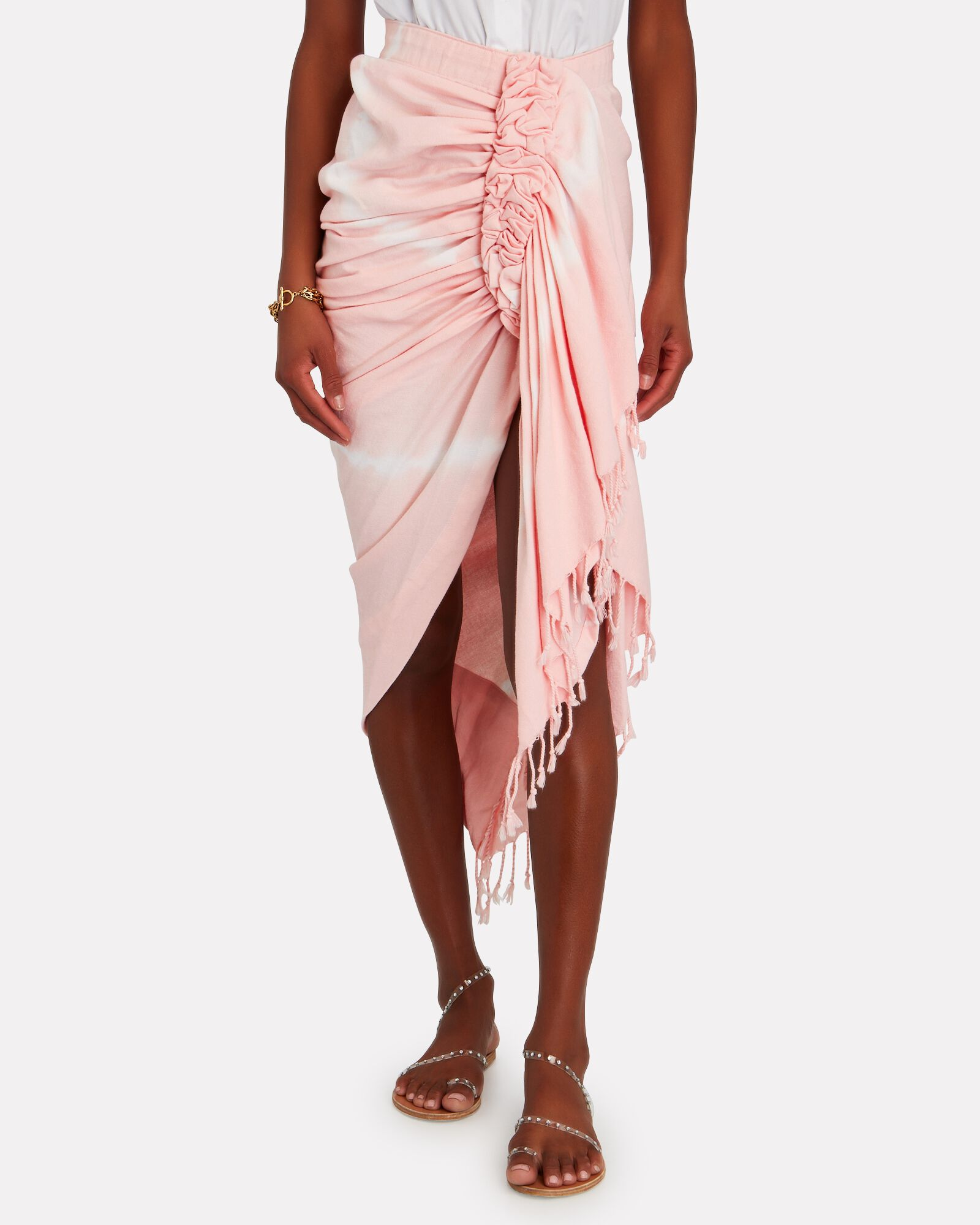 Tulum Ruched High-Low Skirt, PINK, hi-res