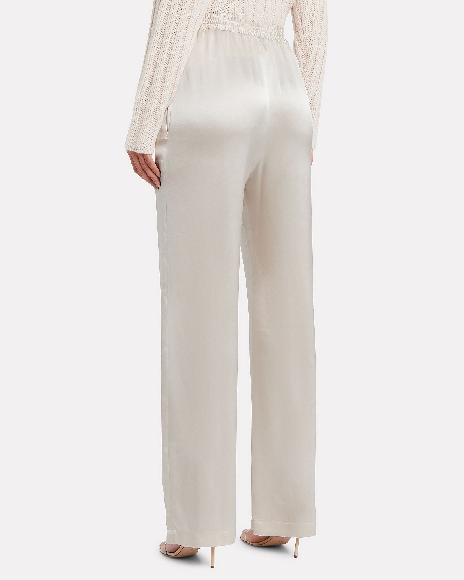 Penelope Silk Charmeuse Pants, POWDER, hi-res