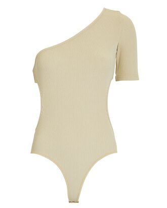 One-Shoulder Rib Knit Bodysuit, BEIGE, hi-res