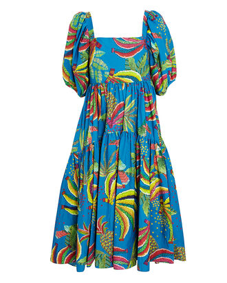 Blue Banana Cotton Midi Dress, BLUE, hi-res