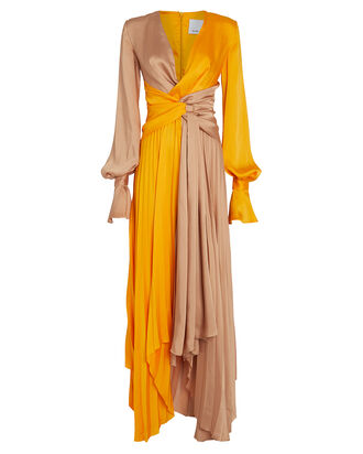 Empire Two-Tone Twisted Maxi Dress, PUMPKIN/CAMEL, hi-res