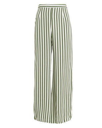 Gabrielle Wide Leg Pants, IVORY/GREEN, hi-res