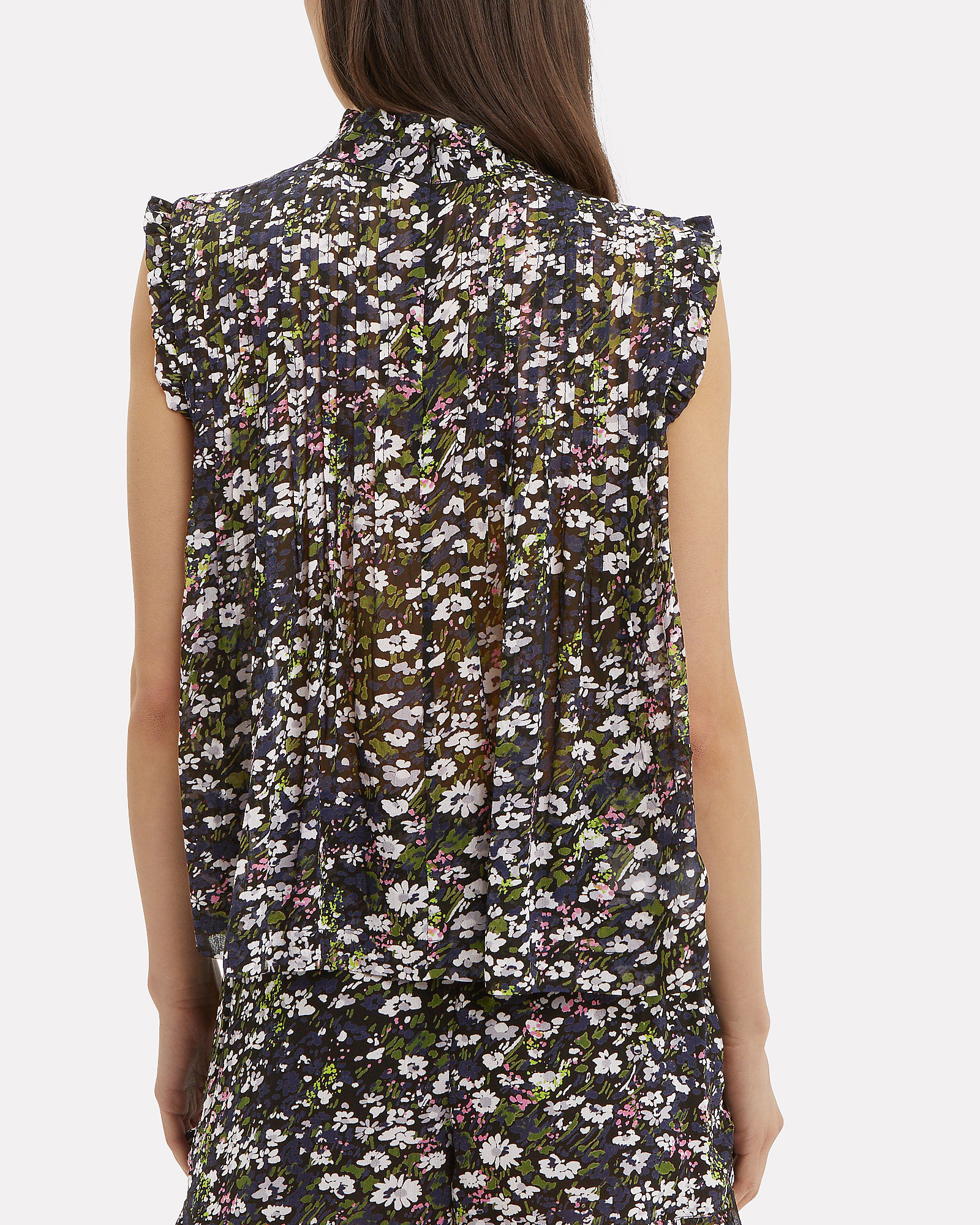 Georgette Sleeveless Floral Blouse, BLACK, hi-res