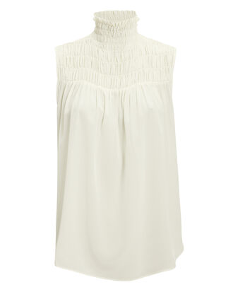 Smocked Ivory Blouse, IVORY, hi-res