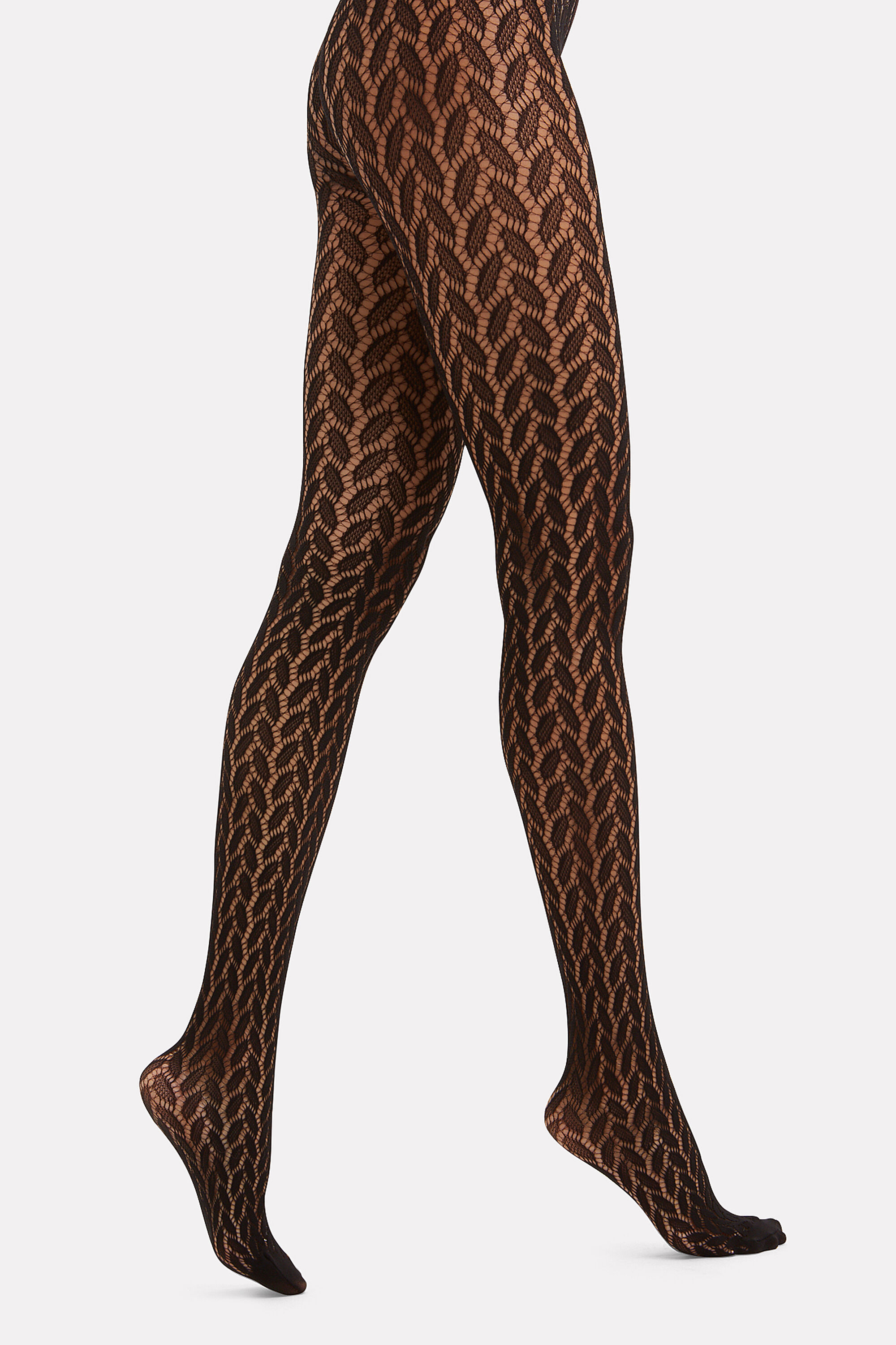 Open Work Cable Tights, BLACK, hi-res