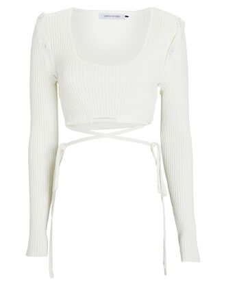 Deconstructed Rib Knit Crop Top, WHITE, hi-res