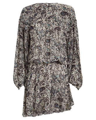 Nimazu Paisley Chiffon Dress, BEIGE/PALE BLUE, hi-res