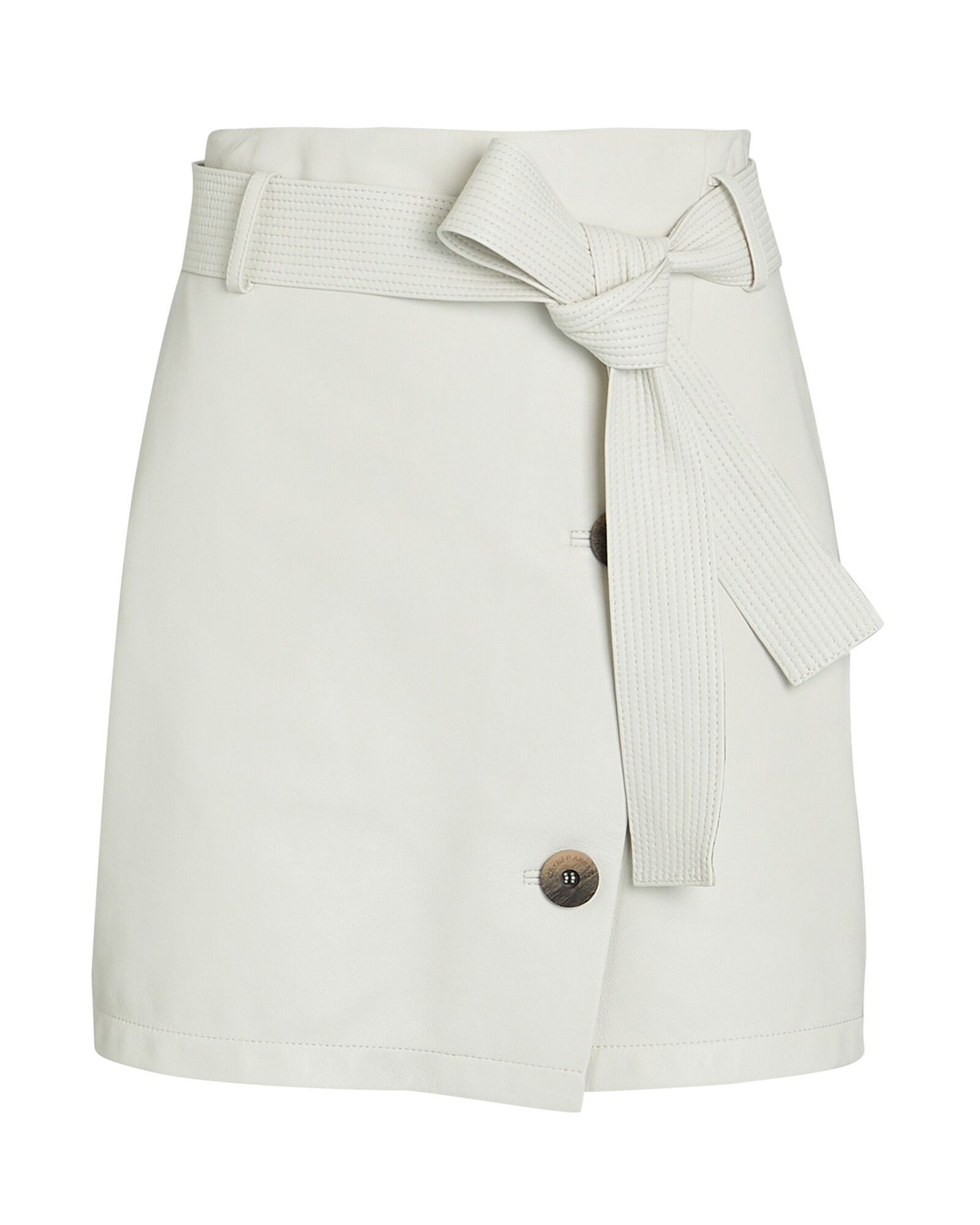 Belted Leather Mini Skirt, IVORY, hi-res