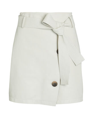 Belted Leather Mini Skirt, WHITE, hi-res