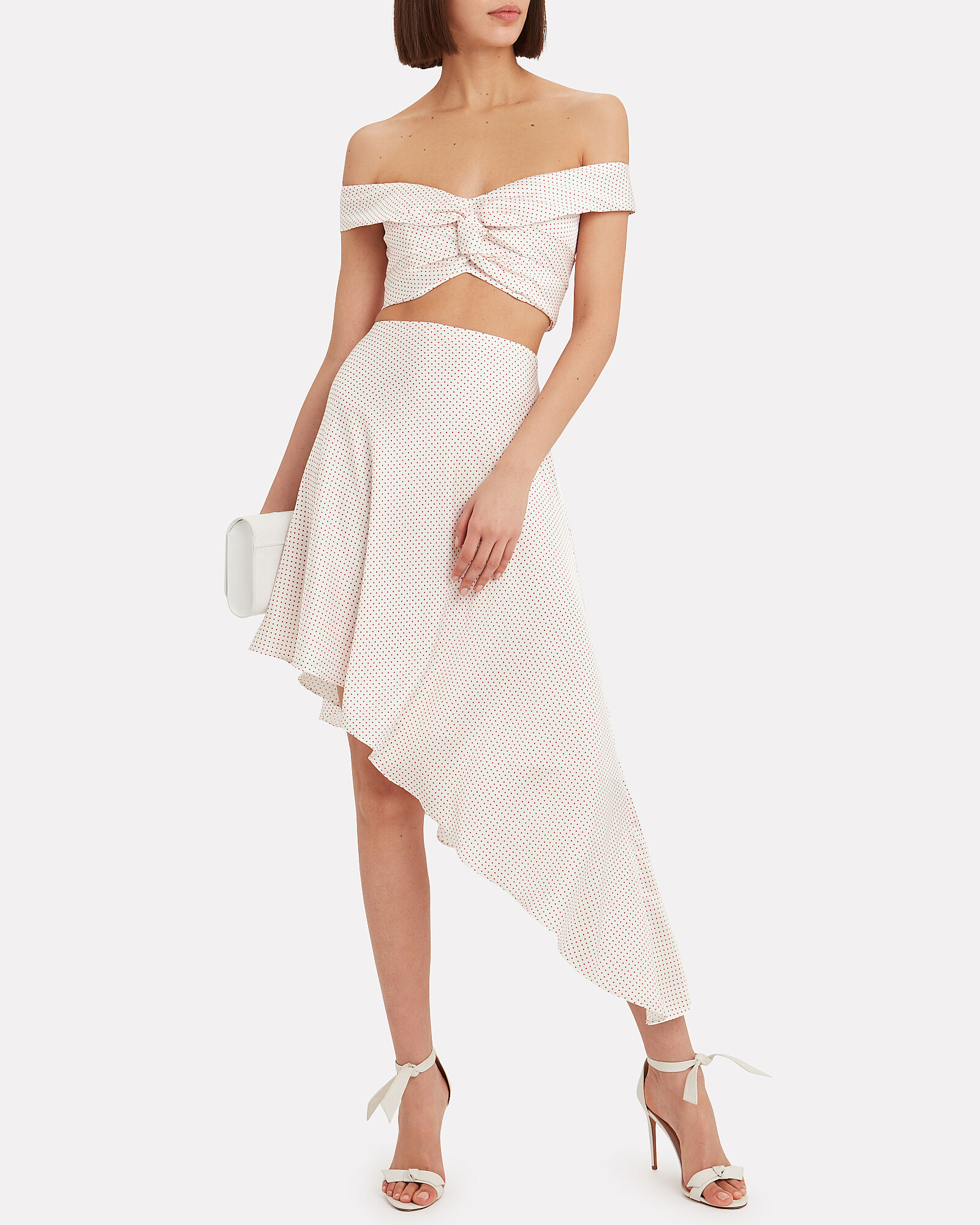 Kadir Asymmetrical Skirt, WHITE/RED, hi-res