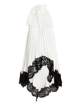 Pleated Lace Top, IVORY, hi-res