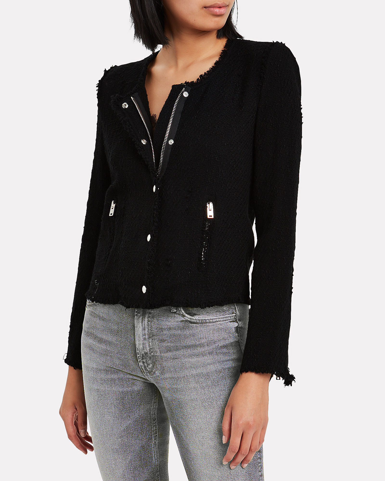 Agnette Tweed Jacket, BLACK, hi-res