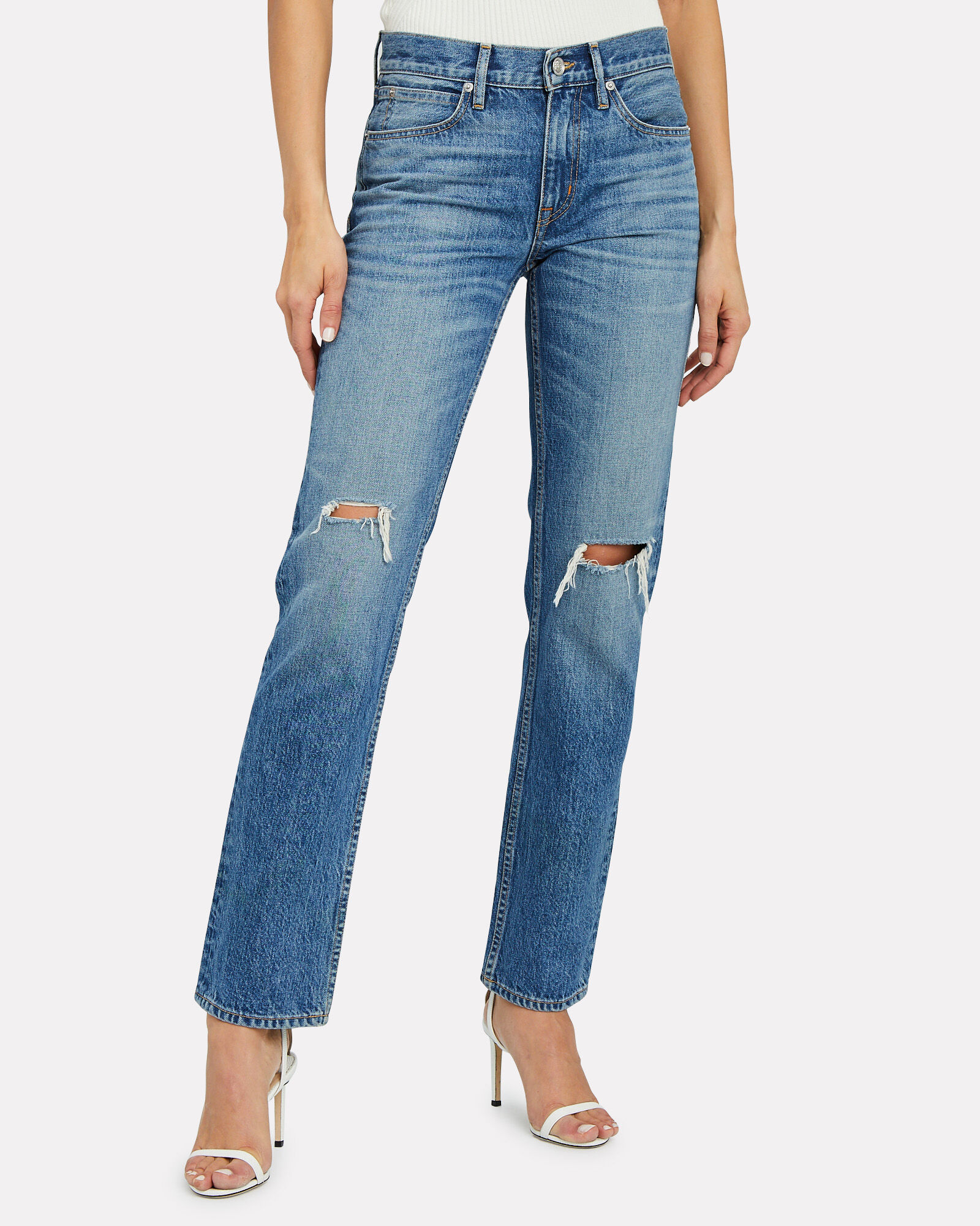 Tyler Distressed Straight-Leg Jeans, OLD WAYS, hi-res