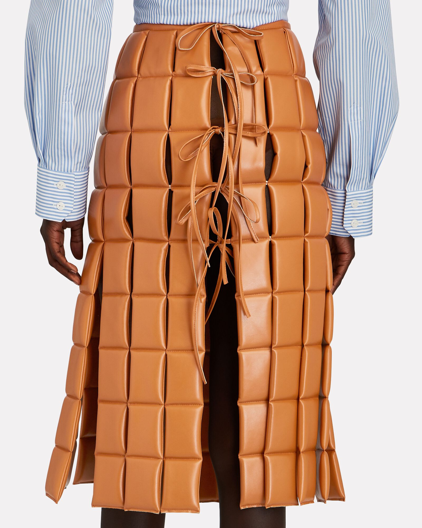 Quilted Faux Leather Midi Skirt, BROWN, hi-res
