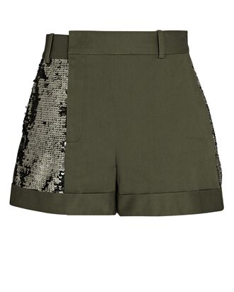 Sequined Cotton Twill Shorts, OLIVE, hi-res