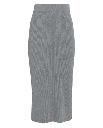 Eulalia Rib Knit Midi Skirt, GREY, hi-res