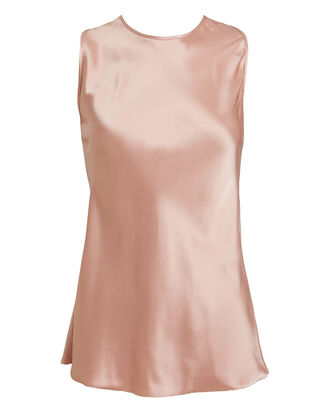 Double-Faced Satin Twist Tank, BLUSH, hi-res