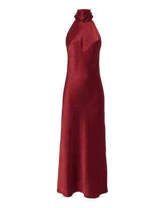 Sienna Tie Neck Satin Dress, RED-DRK, hi-res