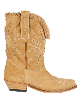 Wish Star Shearling Western Boots, BROWN, hi-res