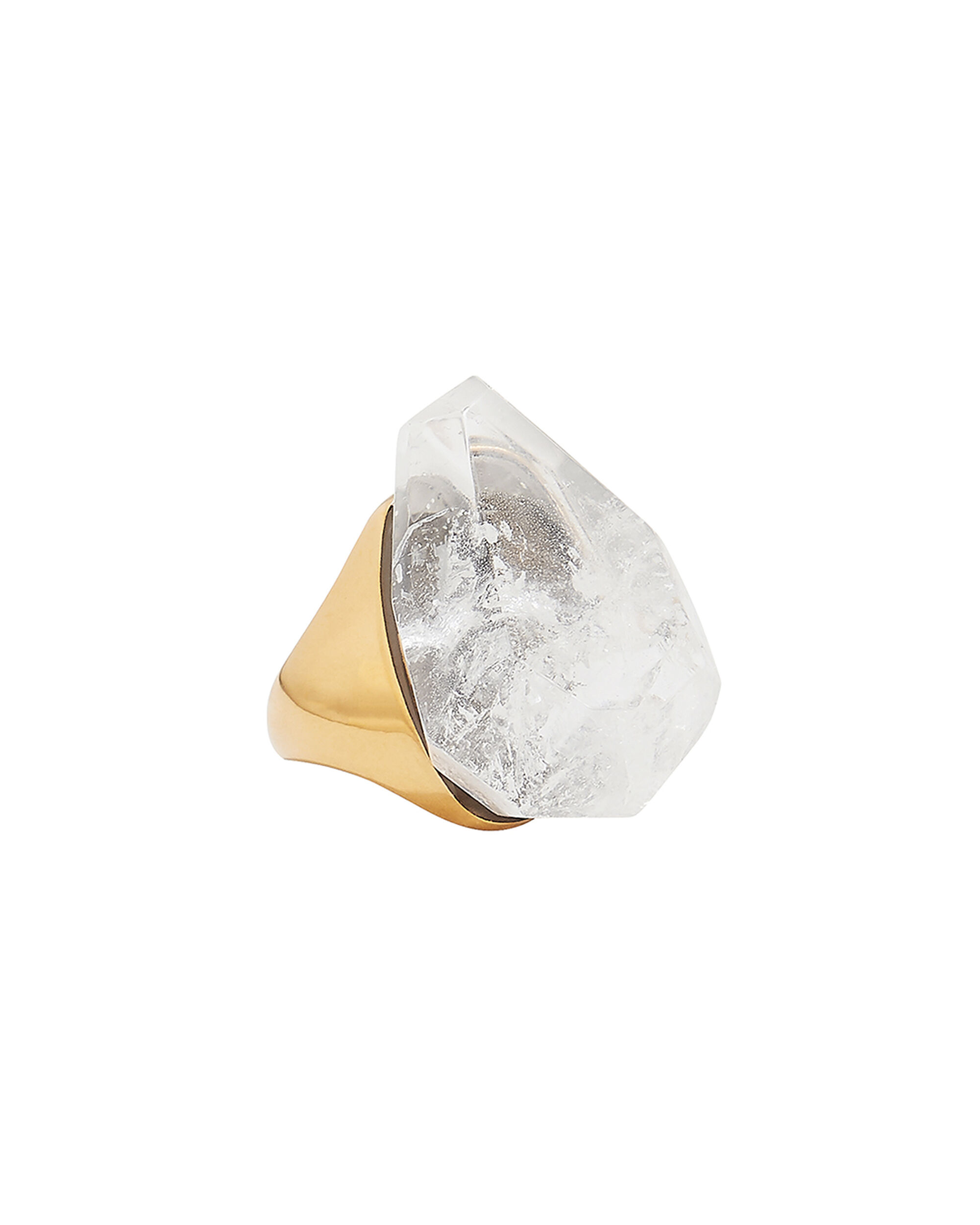 Faceted White Stone Ring, WHITE, hi-res