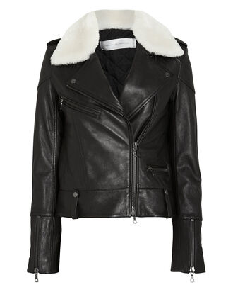 Shearling Collar Leather Biker Jacket, BLK/WHT, hi-res