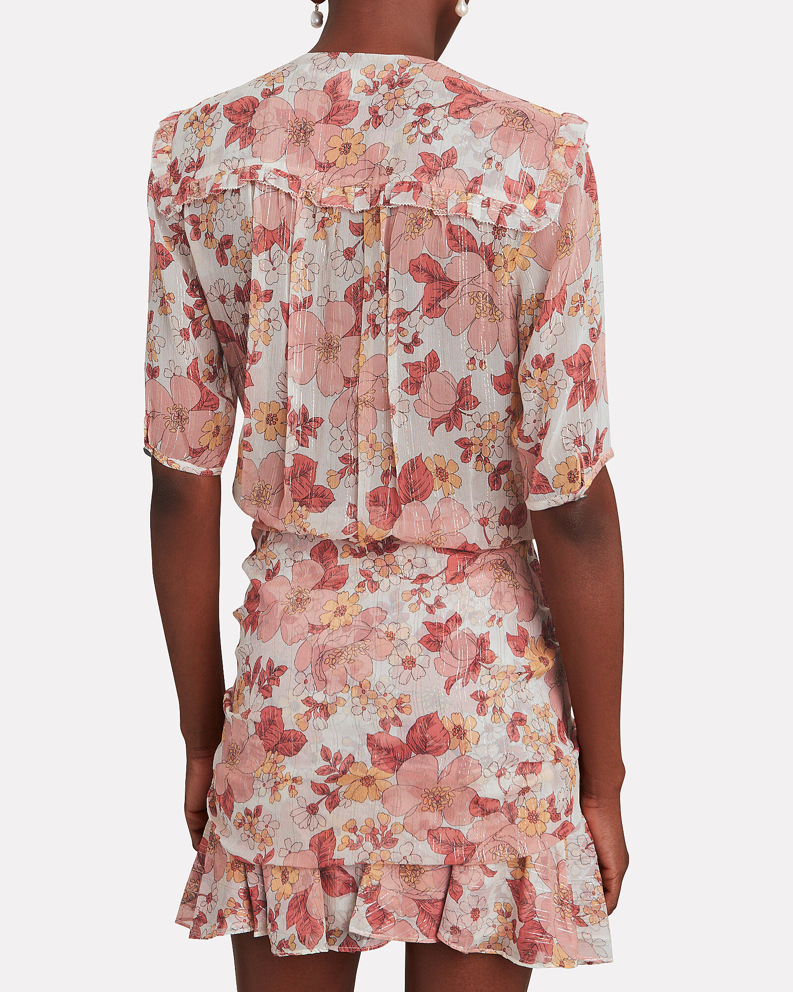 Dakota Floral Mini Dress, BEIGE/PINK, hi-res