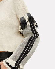 Fringe Cropped Sweater, BLACK/WHITE, hi-res