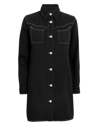 Denim Shirt Dress, BLACK, hi-res