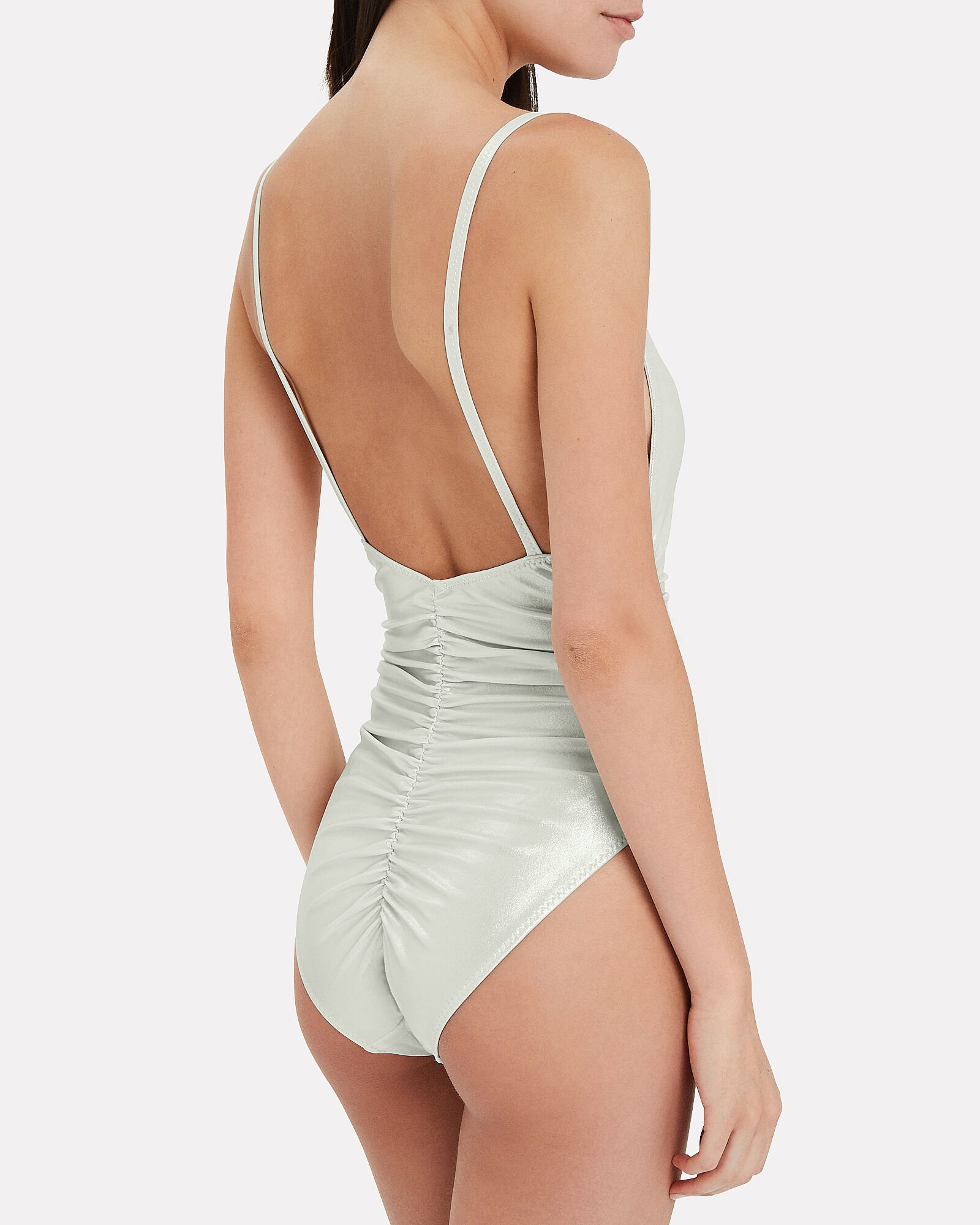 Ruched Metallic One Piece Swimsuit, SILVER, hi-res