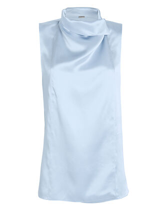 Draped Satin Sleeveless Blouse, BLUE-LT, hi-res