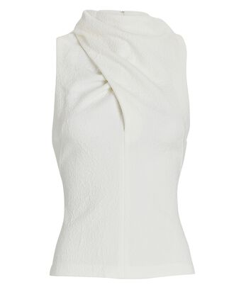 Oxford Draped High Neck Top, IVORY, hi-res