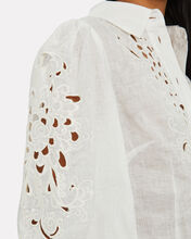 Peggy Embroidered Linen Shirt, IVORY, hi-res