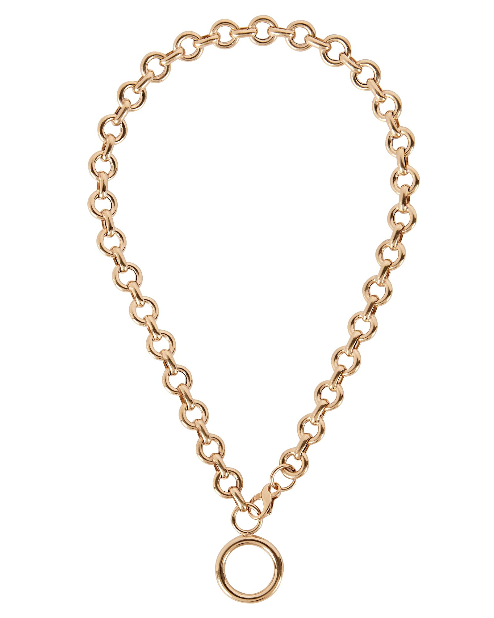 Life Saver Chain Pendant Necklace, GOLD, hi-res