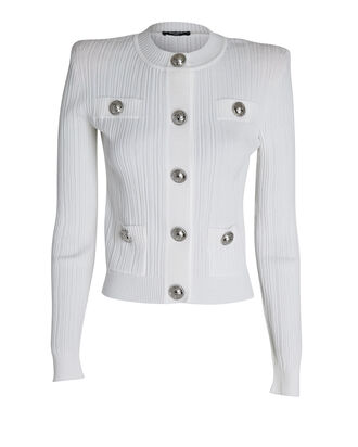 Rib Knit Cardigan, WHITE, hi-res