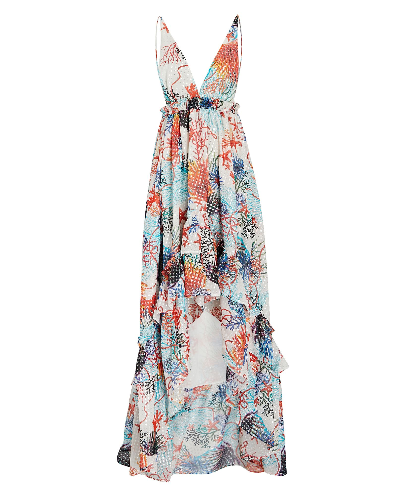 Ruffled Coral Georgette Maxi Dress, WHITE/BLUE/ORANGE, hi-res