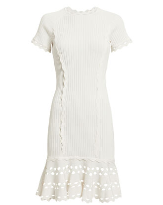 Zig Zag Trim Knit Mini Dress, IVORY, hi-res