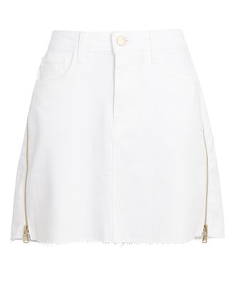 Allegra Side Zip Denim Mini Skirt, WHITE, hi-res