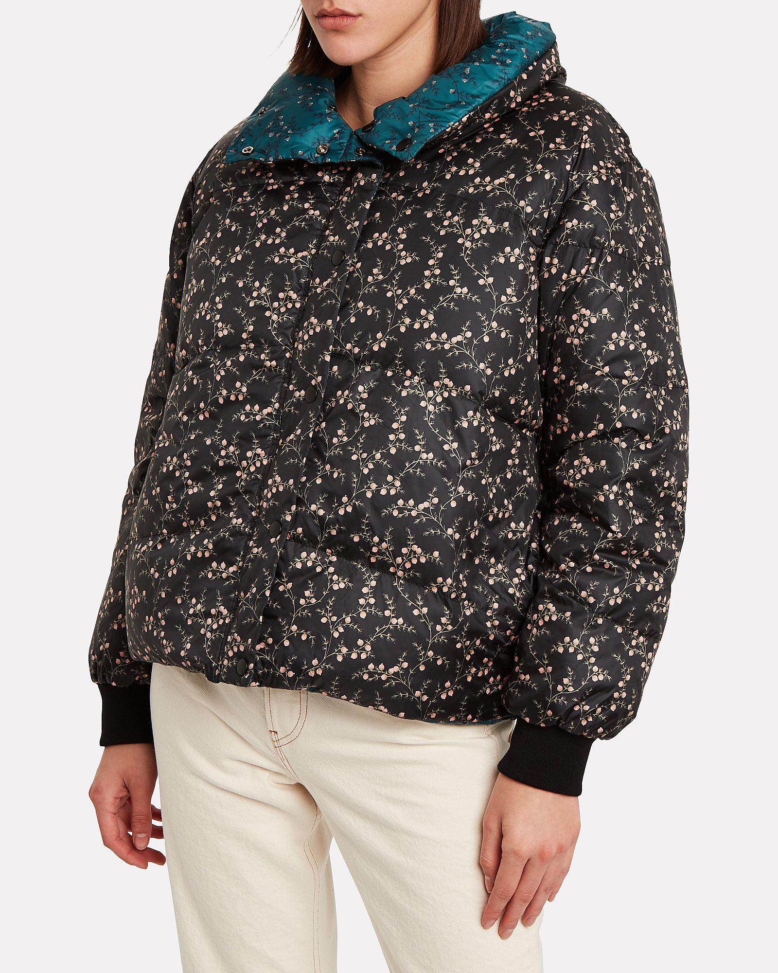 Floral-Printed Puffer Jacket, TURQUOISE, hi-res