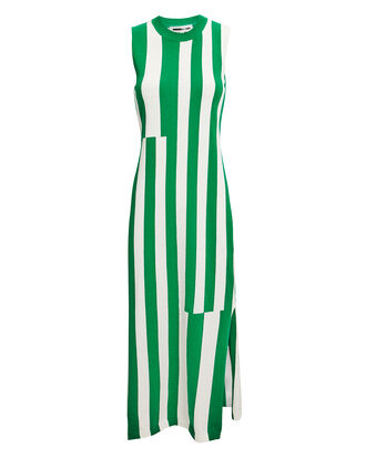 Green Striped Midi Dress, GREEN/WHITE, hi-res