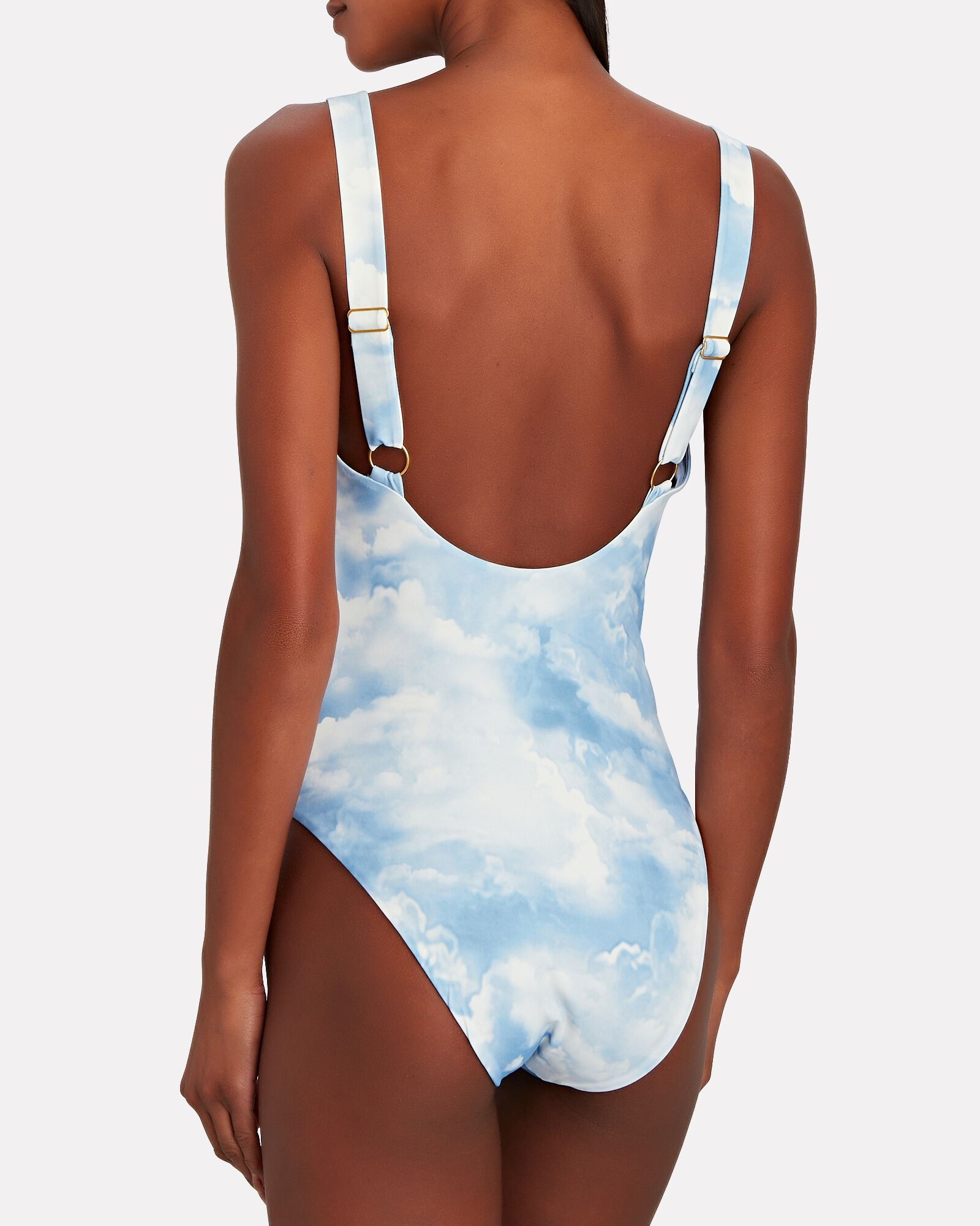 Ruched Cut-Out One-Piece Swimsuit, LIGHT BLUE, hi-res