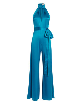 Jeika Satin High Neck Jumpsuit, BLUE-MED, hi-res